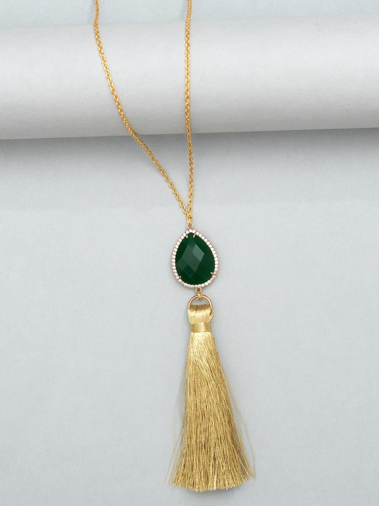 green stone tassel